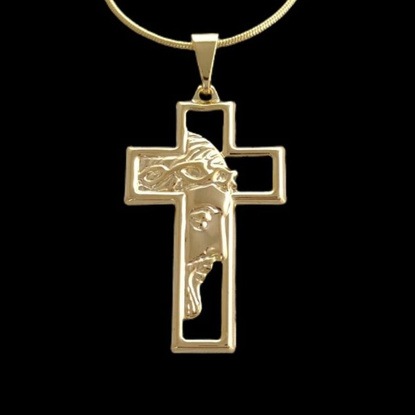 Pingente Cruz Vazada Face de Cristo - 2,2 X 4,5cm - Banhado a ouro 18k