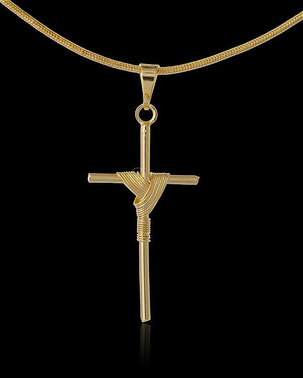 Pingente Cruz Trançada Grande - 1,8 X 3,6cm - Banhado a ouro 18k