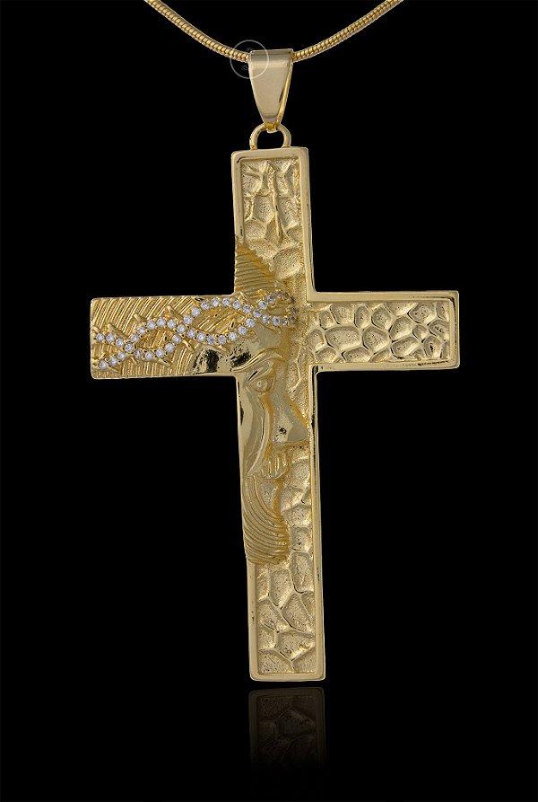 Pingente Cruz Face de Cristo Cravejada - 3,8 X 6,1cm - Banhado a ouro 18k