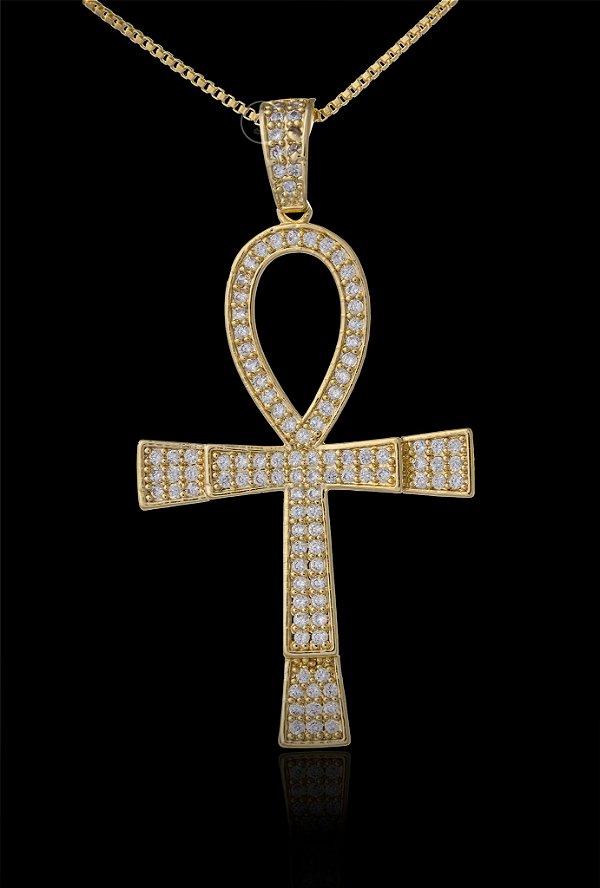 Pingente Cruz Egípcia Cravejada - 3 X 6cm - Banhado a ouro 18k