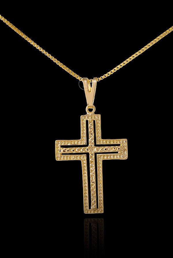 Pingente Cruz Dupla - 2,3 X 3,4cm - Banhado a ouro 18k