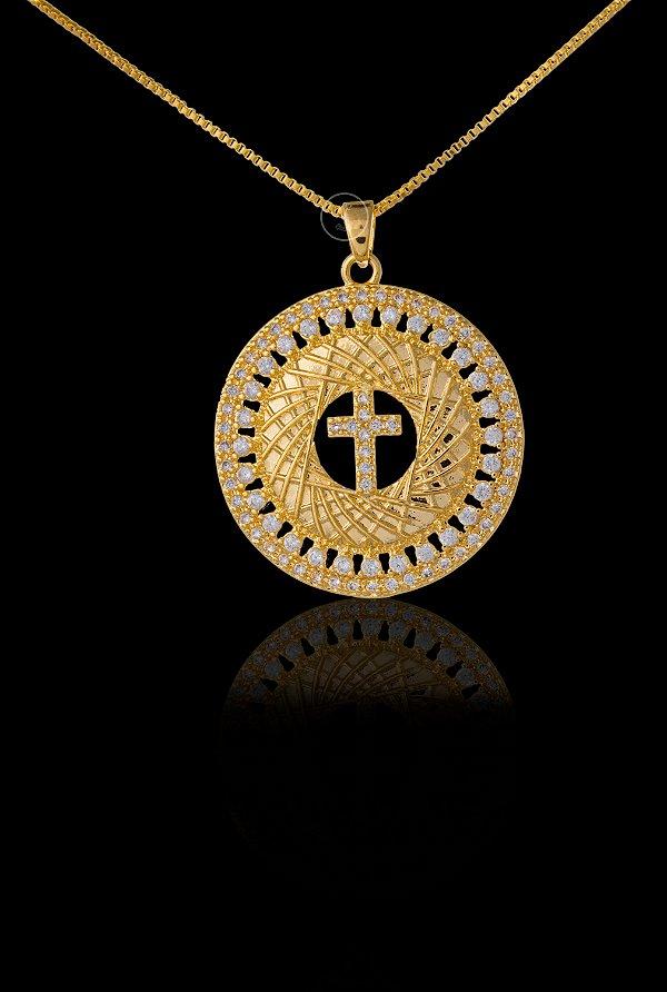 Pingente  Cruz Cravejada Redonda Média - 2,8 X 3cm - Banhado a ouro 18k