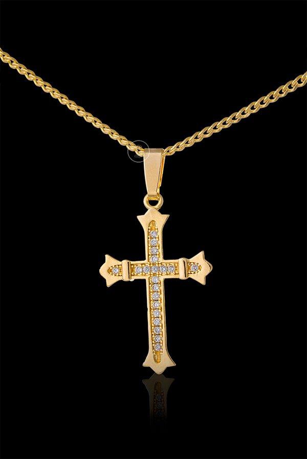 Pingente  Cruz Cravejada com Zircônia - 1,8 X 2,4cm - Banhado a ouro 18k