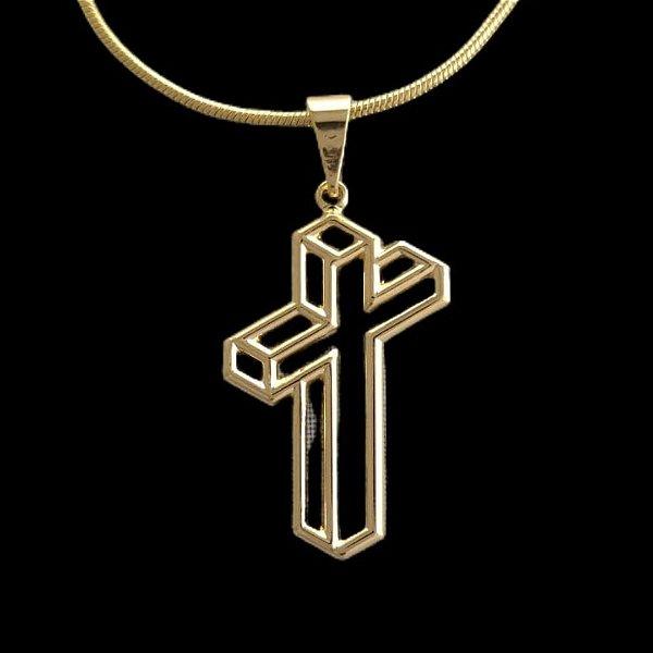 Pingente Cruz Efeito 3d - 1,5 X 2,7cm - Banhado a ouro 18k