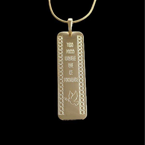 Pingente  Baguete Tudo Posso - 1,5 X 4,7cm - Banhado a ouro 18k