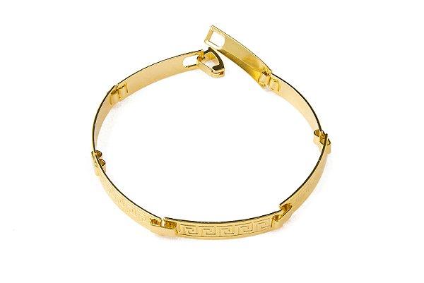 Bracelete Placa Grego - 5 MM  - 18.5cm  - 6g Banhado a ouro 18k