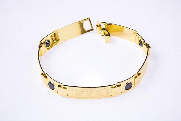Bracelete Placa Cruz Com Zircônia - 9 MM  - 21cm  - 12,6g Banhado a ouro 18k