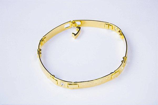 Bracelete Placa Cruz Pequena Com Zircônia - 5 MM  - 18,5cm  - 5,8g Banhado a ouro 18k