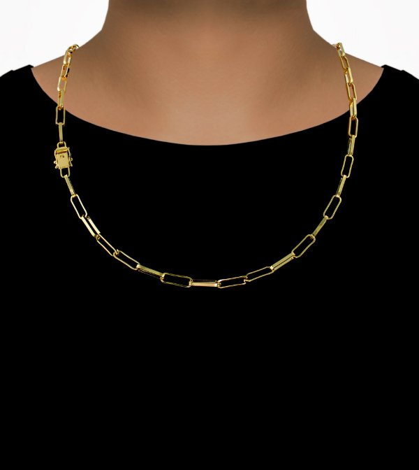 Corrente Cadeado Cartie Elo - Fecho gaveta com trava dupla  (4,5MM) - 60cm - 15g - Banhado a ouro 18k