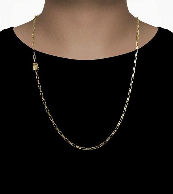 Corrente Cadeado Cartie Elo  - Fecho gaveta com trava dupla  (3MM) - 70cm - 12g - Banhado a ouro 18k