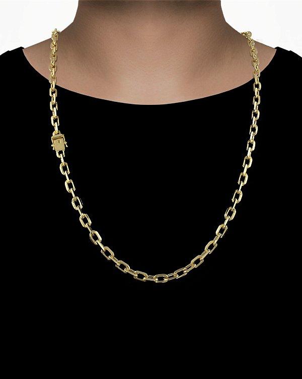 Corrente Cadeado Cartie Curto - Fecho gaveta com trava dupla  (7MM) - 70cm - 49g - Banhado a ouro 18k