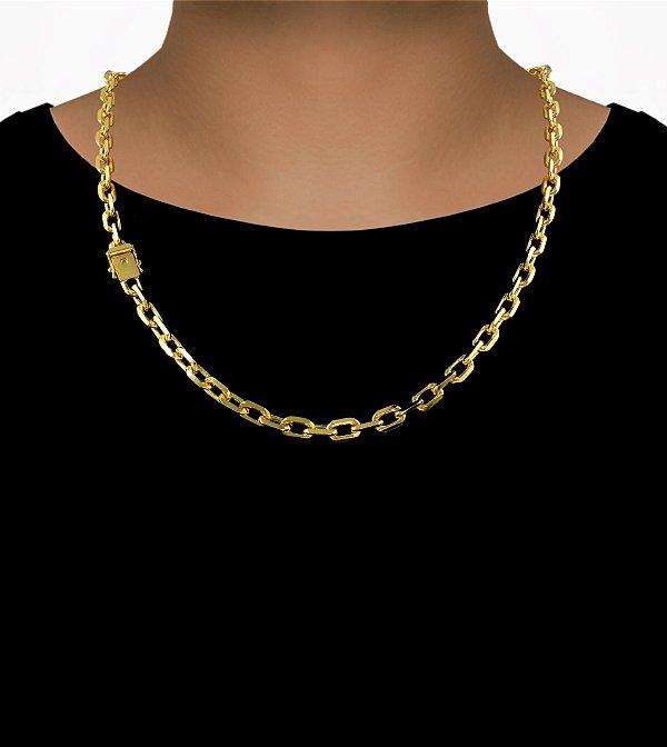 Corrente Cadeado Cartie Curto - Fecho gaveta com trava dupla  (7MM) - 60cm - 41g - Banhado a ouro 18k