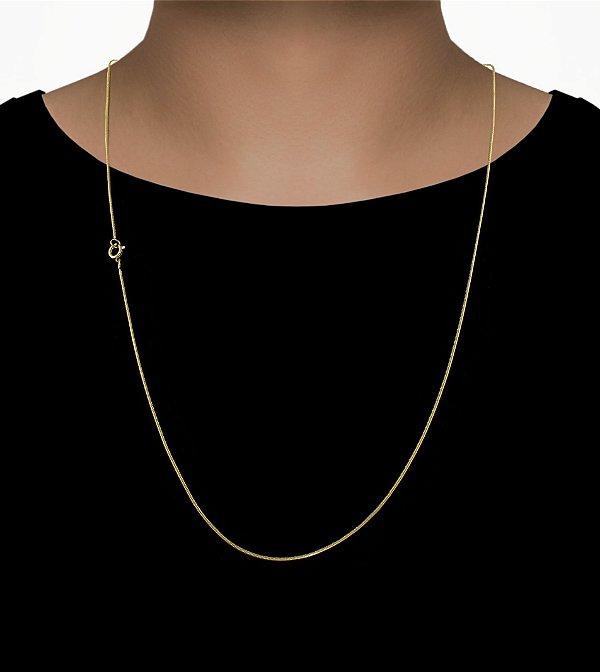 Corrente Rabo De Rato - Fecho bóia (1MM) -70cm - 6g - Banhado a ouro 18k