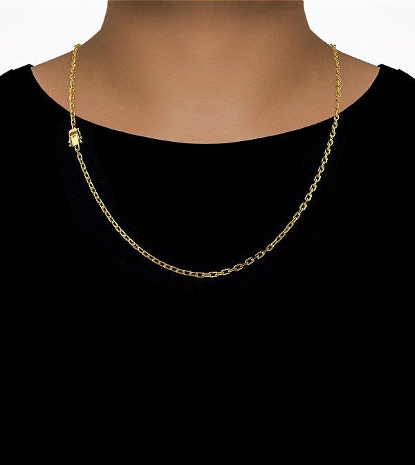 Corrente Cadeado Cartie Curto - Fecho Gaveta com trava dupla  (4MM) - 60cm - 9g - Banhado a ouro 18k