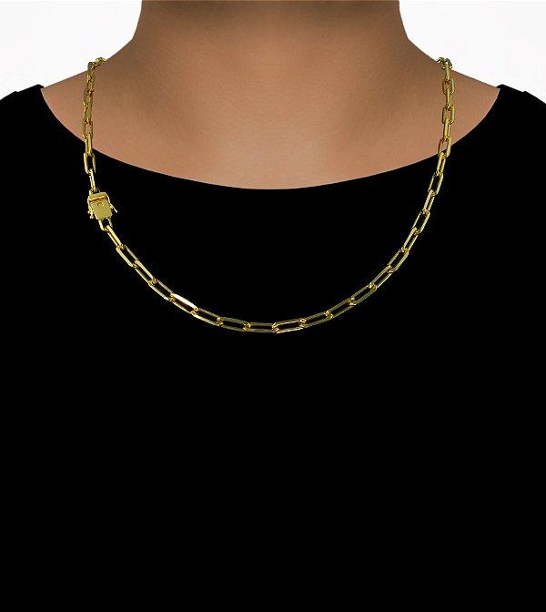 Corrente Cadeado Cartie Longo - Fecho gaveta com trava dupla  (6MM) - 60cm - 26g - Banhado a ouro 18k