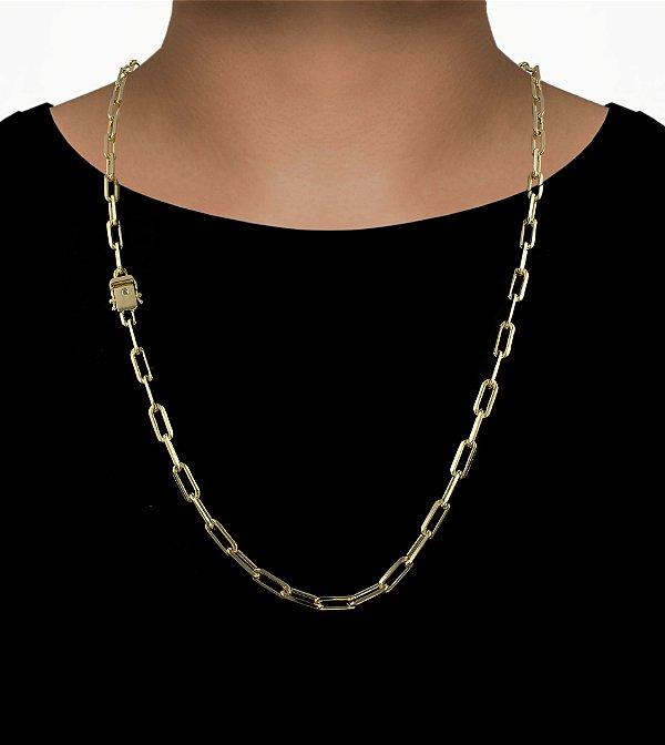 Corrente Cadeado Cartie Elo Longo - Fecho gaveta com trava dupla  (6MM) - 70cm - 30g - Banhado a ouro 18k