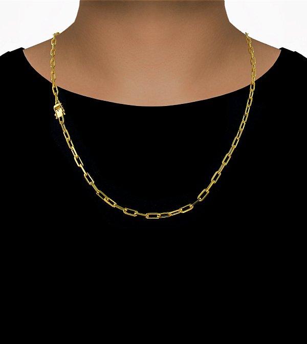 Corrente Cadeado Cartie Longo - Fecho gaveta com trava dupla  (4MM) - 60cm - 15g - Banhado a ouro 18k