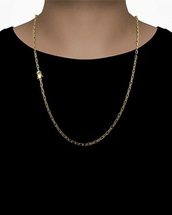 Corrente Cadeado Cartie Curto - Fecho gaveta com trava dupla  (4MM) - 70cm - 21g - Banhado a ouro 18k