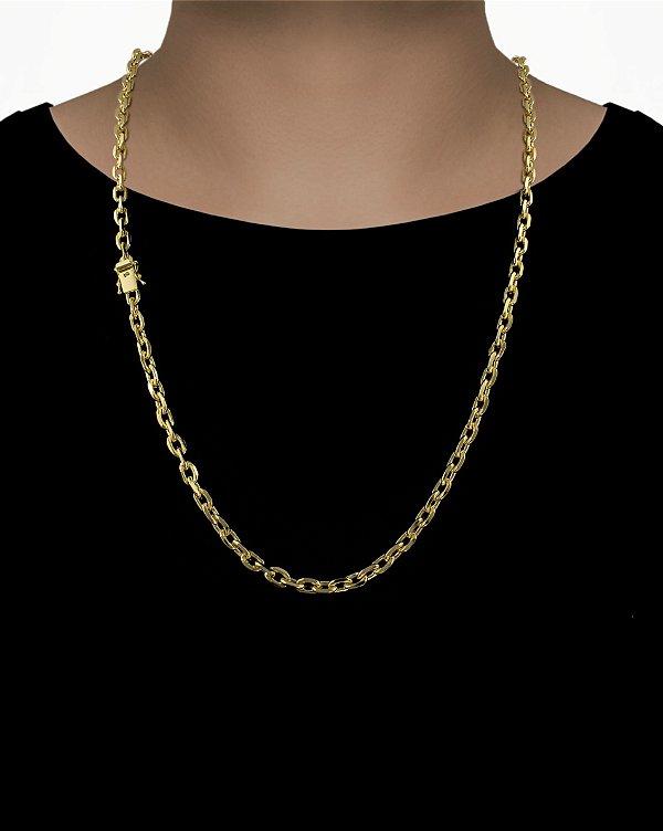 Corrente Cadeado Cartie Curto - Fecho gaveta com trava dupla  (5,5MM) - 70cm - 40g - Banhado a ouro 18k