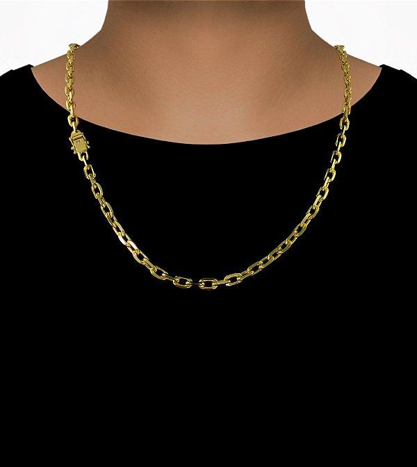 Corrente Cadeado Cartie Curto - Fecho gaveta com trava dupla  (5,5MM) - 60cm - 31g - Banhado a ouro 18k