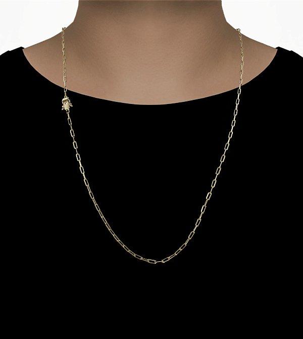 Corrente Cadeado Cartie Longo - Fecho gaveta com trava dupla  (3MM) - 70cm - 8g - Banhado a ouro 18k