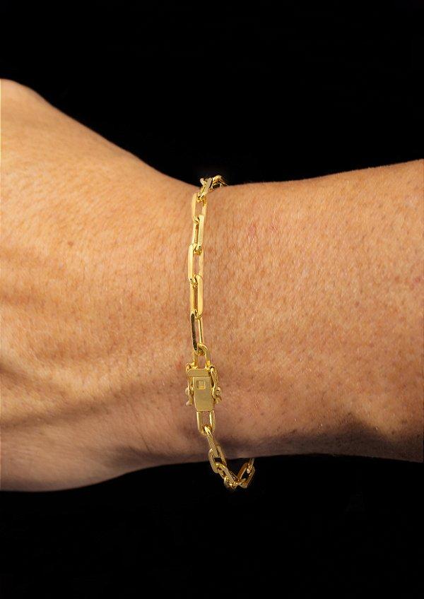 Pulseira Cadeado Cartie Elo Longo - Fecho gaveta com trava dupla  (4 MM ) 21cm - 6,2g - Banhado a ouro 18k