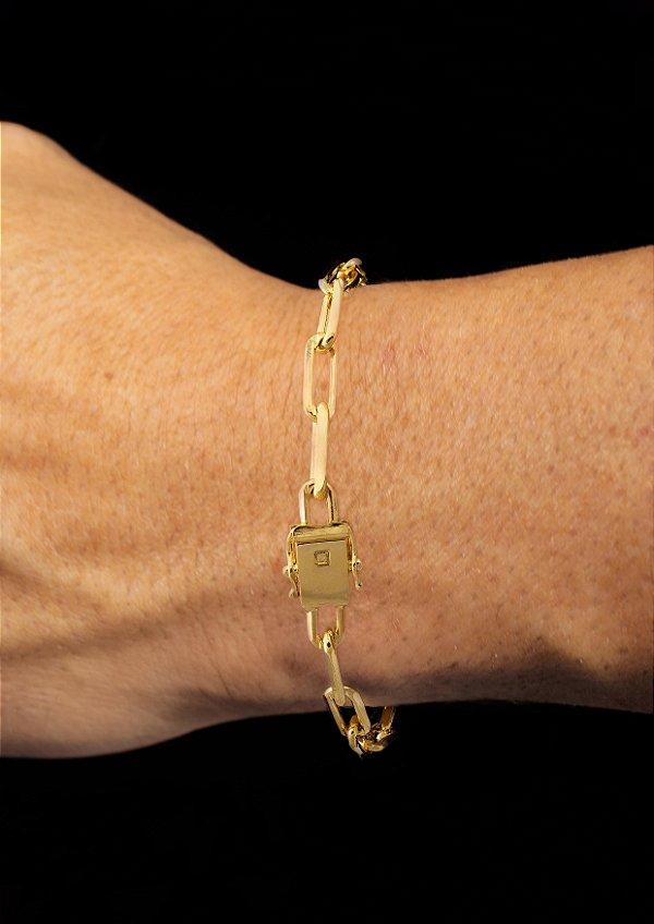 Pulseira Cadeado Cartie Elo Longo - Fecho gaveta com trava dupla  (6 MM ) 21cm - 10g - Banhado a ouro 18k