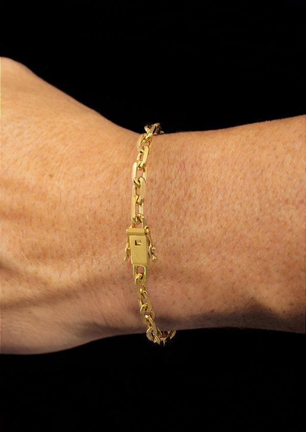 Pulseira Cadeado Cartie Elo Curto - Fecho gaveta com trava dupla  (5,5 MM ) 21cm - 11,2g - Banhado a ouro 18k