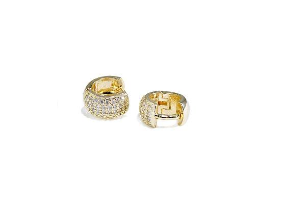 Brinco Argola - Cravejado Com 4 Fileiras De Zircônias - Banhado a ouro 18k