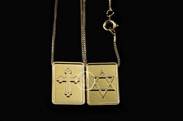 Escapulário Veneziana Davi Cruz - 60cm - Medalha 1,4 X 1,9cm - 4,5g - Banhado a ouro 18k