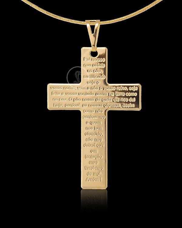 Pingente Cruz com Pai Nosso - 3,3 X 5cm - Banhado a ouro 18k