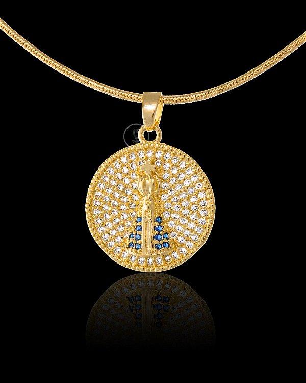 Pingente Nossa Senhora Redonda Com Zircônia - 1,9 X 1,9cm - Banhado a ouro 18k
