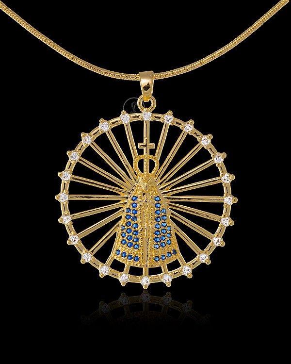 Pingente  Nossa Senhora Vazado Com Zircônia - 3,4 X 3,4cm - Banhado a ouro 18k