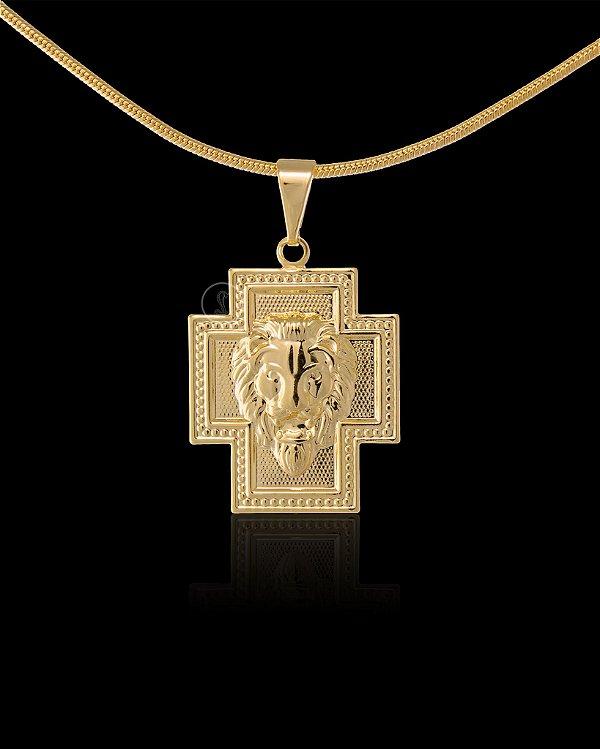 Pingente Cruz com Leão - 1,8 X 2,1cm - Banhado a ouro 18k