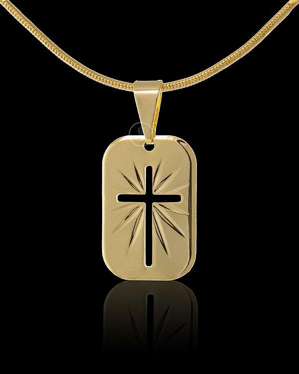 Pingente  Placa Diamantada Cruz Vazada - 2 X 1,3cm - Banhado a ouro 18k