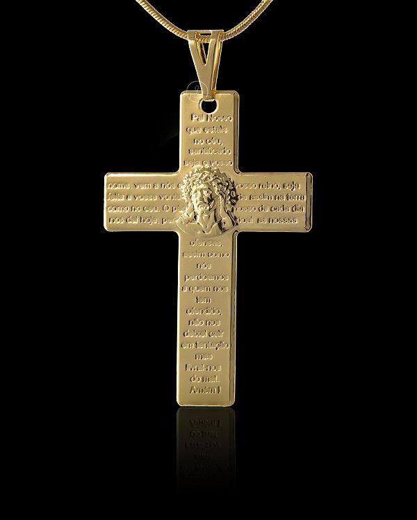 Pingente Cruz - Pai Nosso com Cristo - 3,3 X 5cm - Banhado a ouro 18k