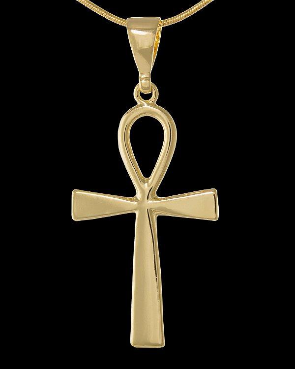 Pingente  Cruz Egípcia  - 2,7 X 4,6cm - Banhado a ouro 18k