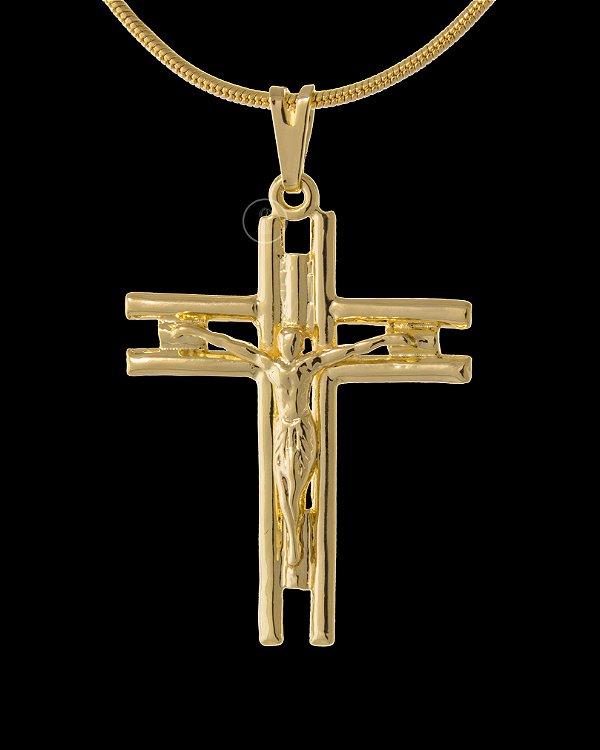 Pingente Cruz Vazada com Cristo  - 2,5 X 3cm - Banhado a ouro 18k