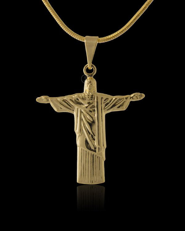Pingente Cristo Redentor Duplo - 2,6 X 3cm - Banhado a ouro 18k