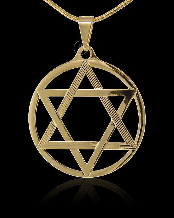 Pingente Estrela De Davi Redonda Vazada - 3 X 3cm - Banhado a ouro 18k