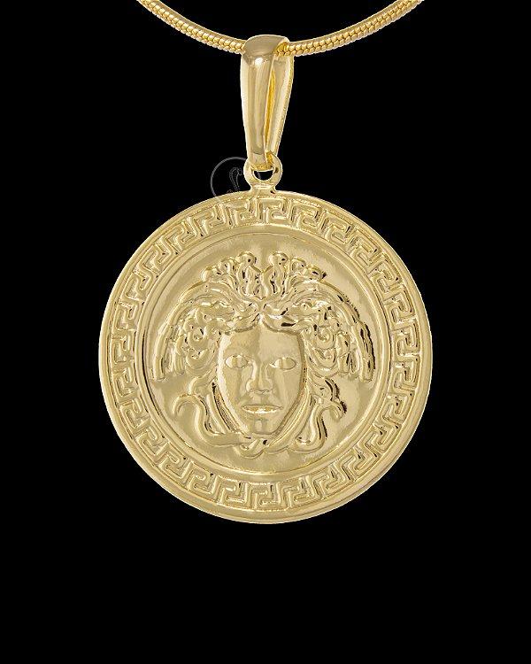 Pingente  Medalha Versace Medusa  - 2,6 X 2,6cm - Banhado a ouro 18k