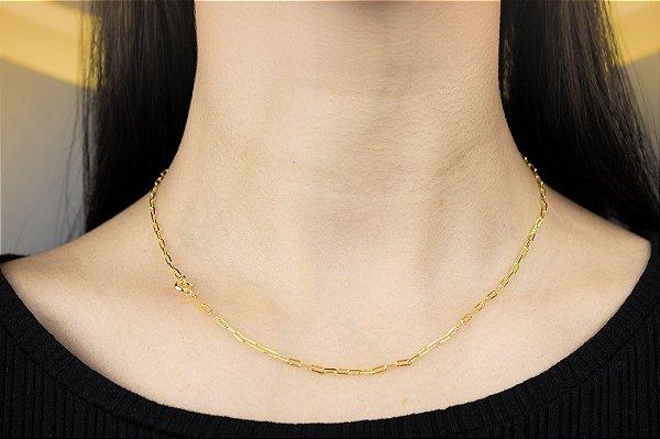 Corrente Cartie Fina - Fecho Bóia (MM) - 45cm - 2.9g - Banhado a ouro 18k