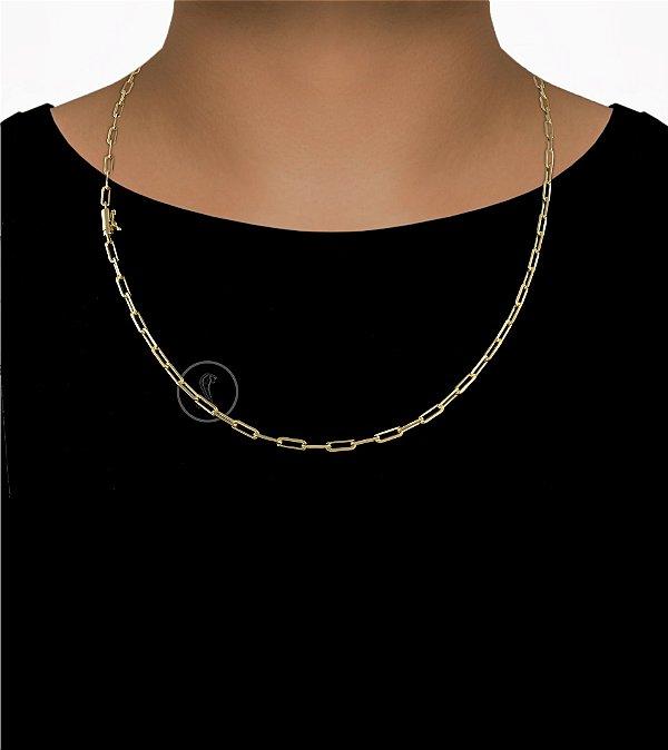 Corrente Cadeado Cartie Curto - Fecho Canhão (4MM) - 60cm - 17g - Banhado a ouro 18k