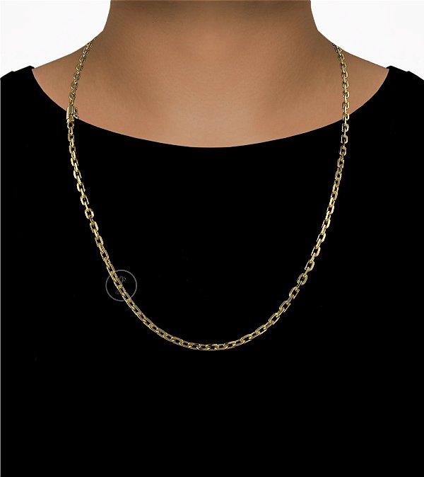 Corrente Cadeado Cartie Curto - Fecho Canhão (4MM) - 70cm - 21g - Banhado a ouro 18k