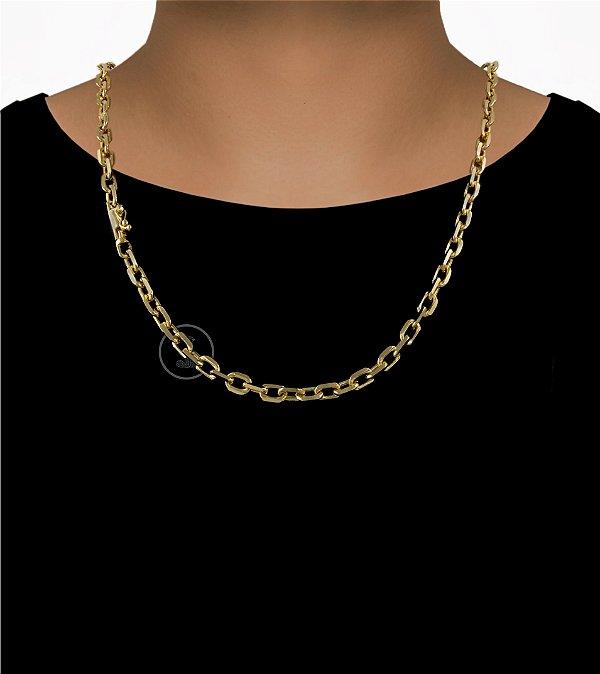 Corrente Cadeado Cartie Curto - Fecho Canhão (7MM) - 60cm - 42g - Banhado a ouro 18k