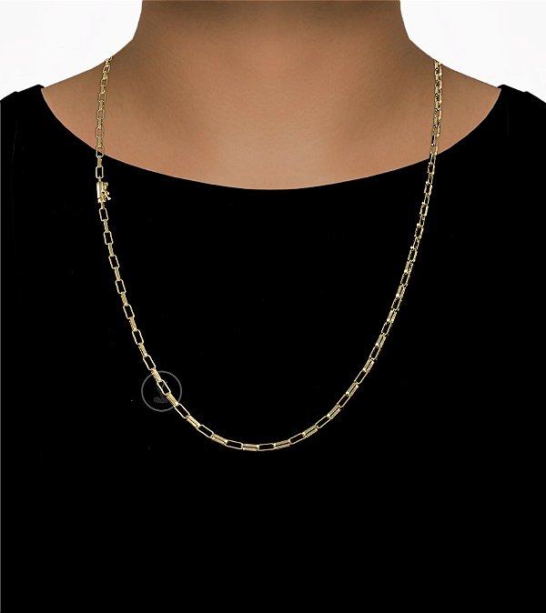 Corrente Cadeado Cartie Elo - Fecho Canhão (3MM) - 70cm - 12g - Banhado a ouro 18k