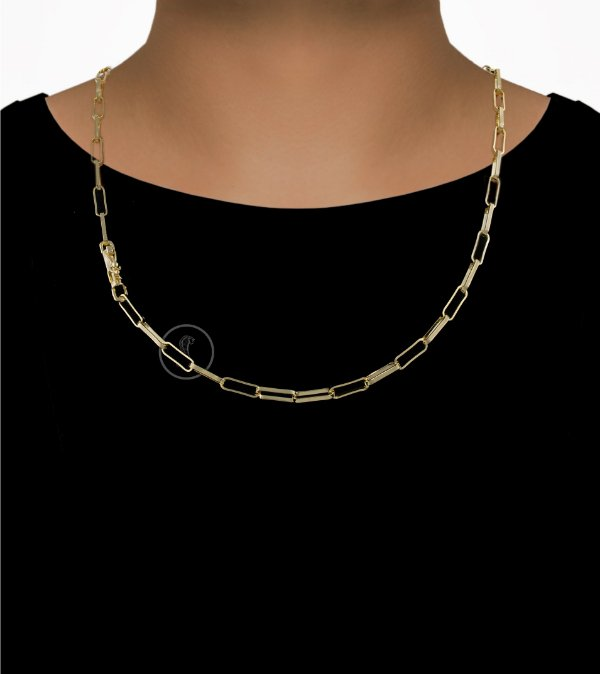Corrente Cadeado Cartie Elo - Fecho Canhão (4,5MM) - 60cm - 18g - Banhado a ouro 18k