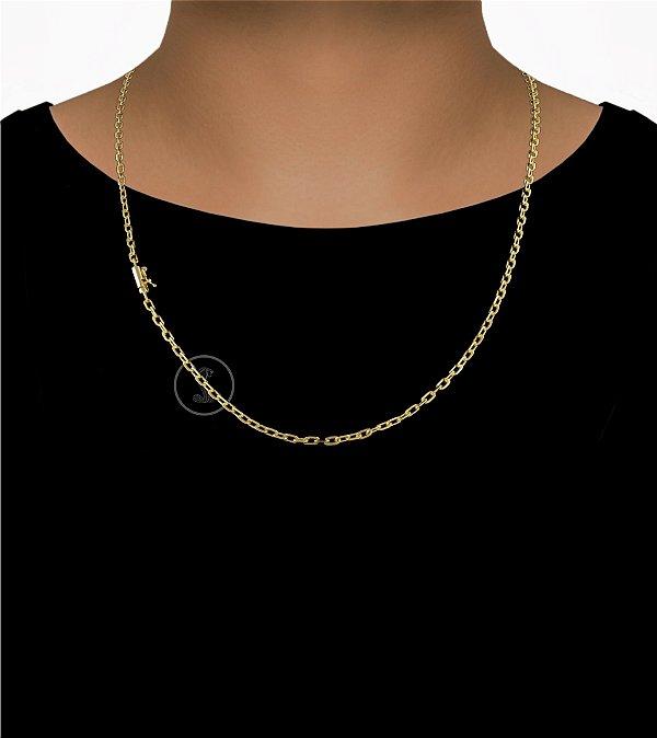 Corrente Cadeado Cartie Elo Curto - Fecho Canhão (4MM) - 60cm - 9g - Banhado a ouro 18k
