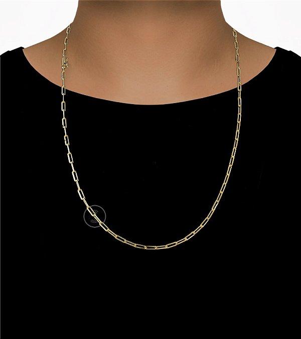 Corrente Cadeado Cartie Longo - Fecho Canhão (3,5MM) - 70cm - 11g - Banhado a ouro 18k
