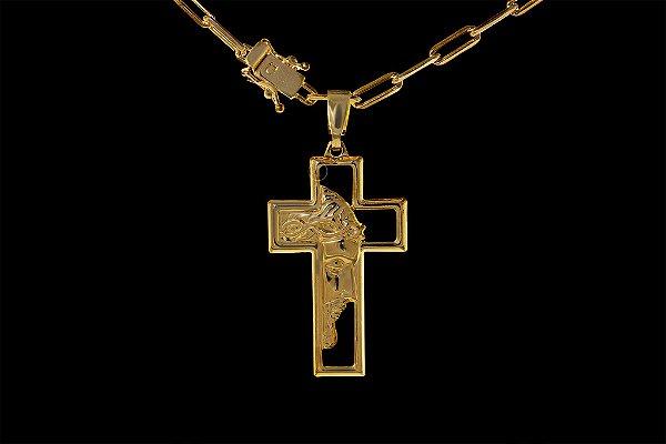 Corrente Cadeado Cartie Longo - Fecho gaveta com trava dupla  (3,5MM) - 70cm - 11g +Pingente  Cruz Vazada Face - 2,2 X 4 - Banhado a ouro 18k